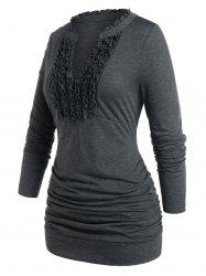 Plus Size Frilled V Notch Ruched Tunic Tee -