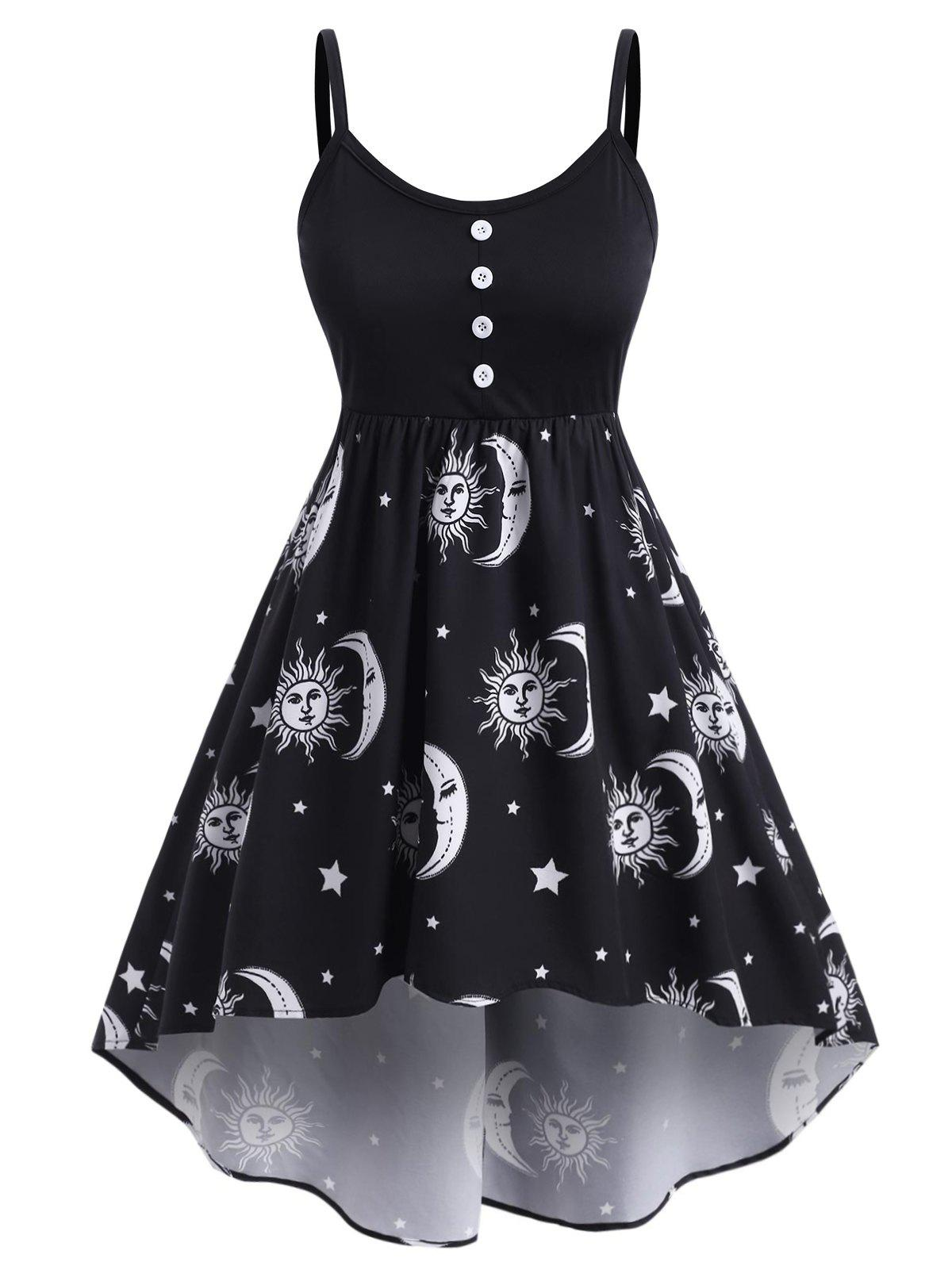 Affordable Plus Size High Low Sun Moon Print Dress