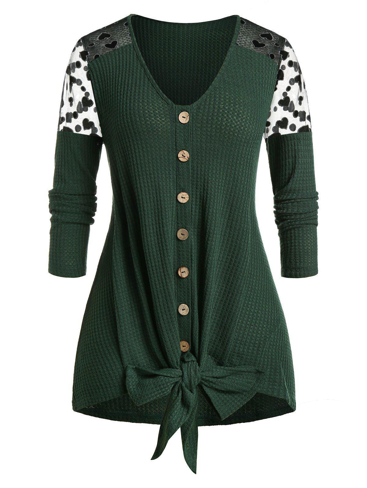 Chic Plus Size Heart Mesh Tie Front Cardigan