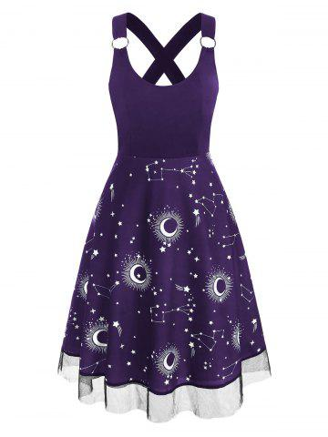 Lace Insert Sun Moon Star Print Criss Cross Dress
