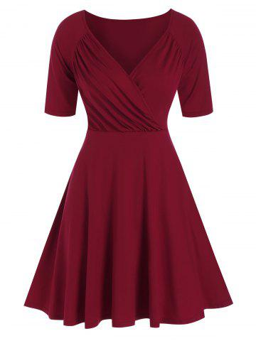 Ruched Raglan Sleeve Surplice Dress