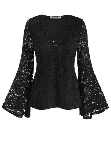 Plus Size Bell Sleeve O Ring Lace Blouse - BLACK - L