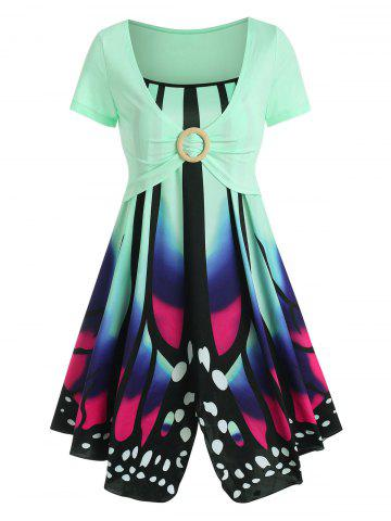 Butterfly Print Cami Dress with O Ring Crop Top