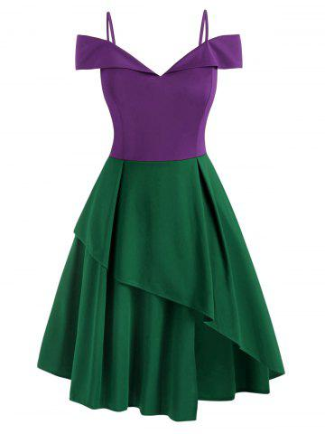 Plus Size Layered Cold Shoulder Cocktail Dress - PURPLE - 4XL