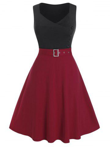 Plus Size Bicolor Two Tone Belted A Line Dress - RED WINE - L