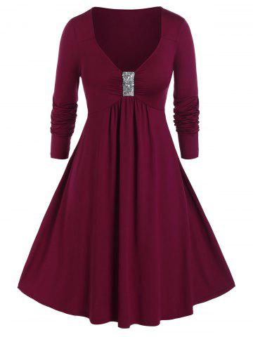 Plus Size Sequined Ruched A Line Plunging Dress - RED WINE - 5X