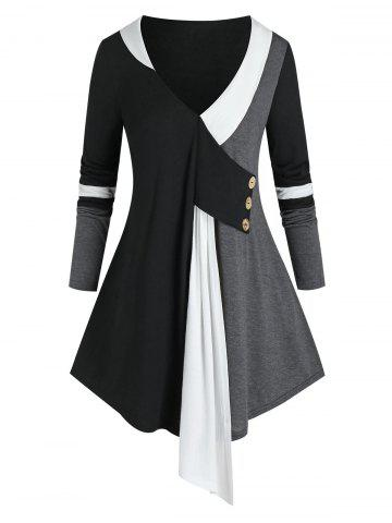 Plus Size Colorblock Plunging Long Sleeve Tunic Tee