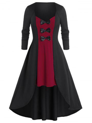 Plus Size Two Tone Bicolor Bowknot High Low Midi Dress - RED WINE - 4X