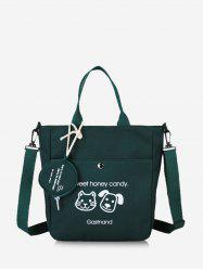 Cute Animal Graphic Canvas Top Handle Shoulder Bag -