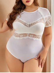 Open Back Lace Panel Sheer Mesh Plus Size Teddy -