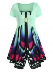 Butterfly Print Cami Dress with O Ring Crop Top -