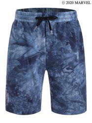 Marvel Spider-Man Tie Dye Print Letter Embroidered Sweat Shorts -