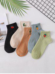 5 Pairs Fruit Embroidery Short Socks -