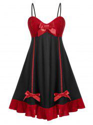 Plus Size Vintage Bowknot Velvet Flare Dress -