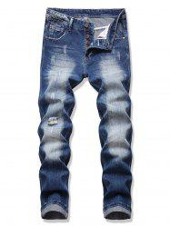 Distressed Destroy Wash Scratch Jeans -