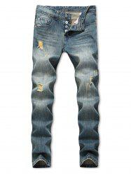 Distressed Destroy Wash Straight Long Jeans -