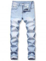 Long Straight Scratch Casual Jeans -