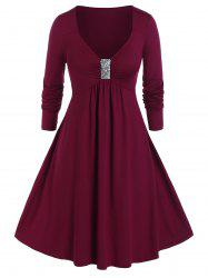 Plus Size Sequined Ruched A Line Plunging Dress -
