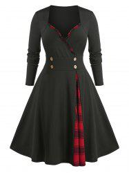Plus Size Frilled Plaid Panel A Line Sweetheart Neck Dress -