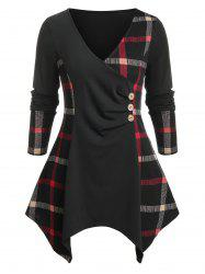 Plus Size Plaid Handkerchief Ruched Long Sleeve Tee -