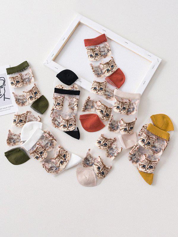 Discount 6Pairs Cat Pattern Transparent Mesh Socks Set