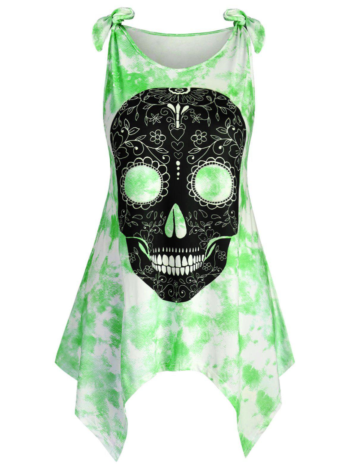 Hot Tie Shoulder Skull Tie Dye Halloween Plus Size Tank Top