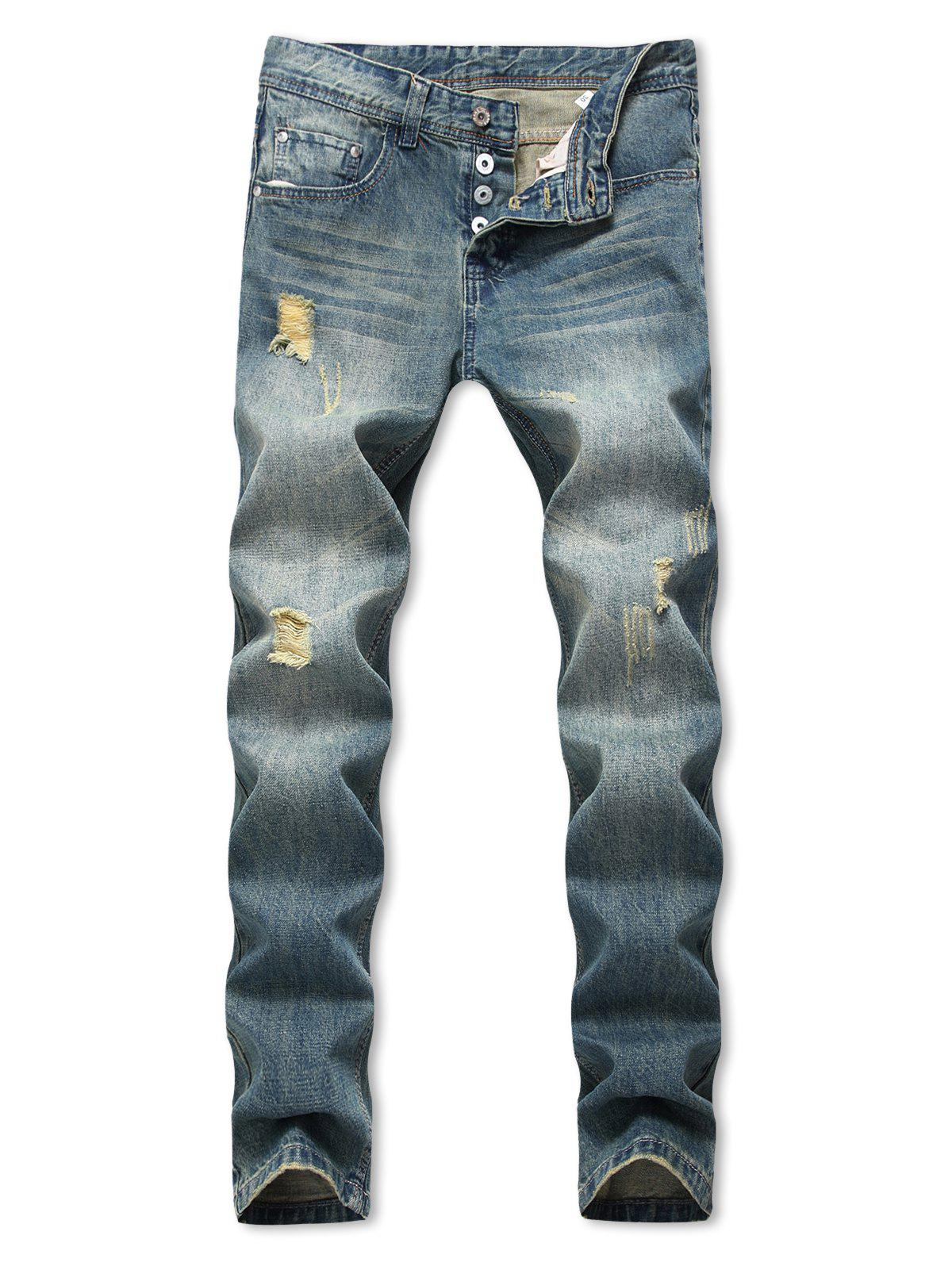 Latest Distressed Destroy Wash Straight Long Jeans