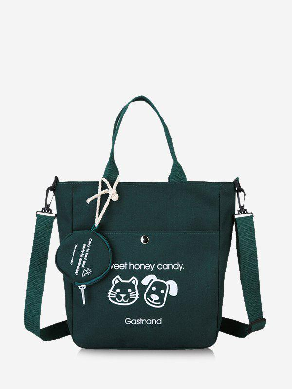 Fashion Cute Animal Graphic Canvas Top Handle Shoulder Bag