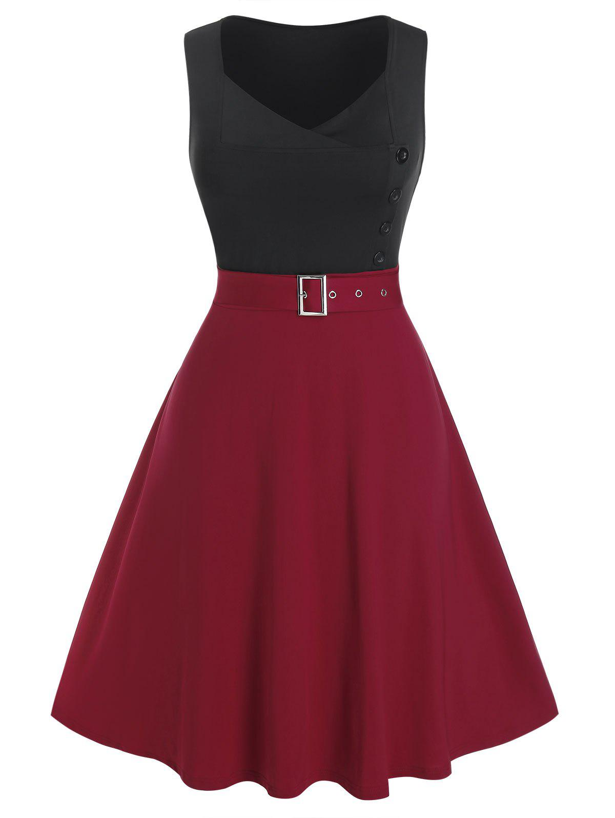 Buy Plus Size Bicolor Two Tone Belted A Line Dress