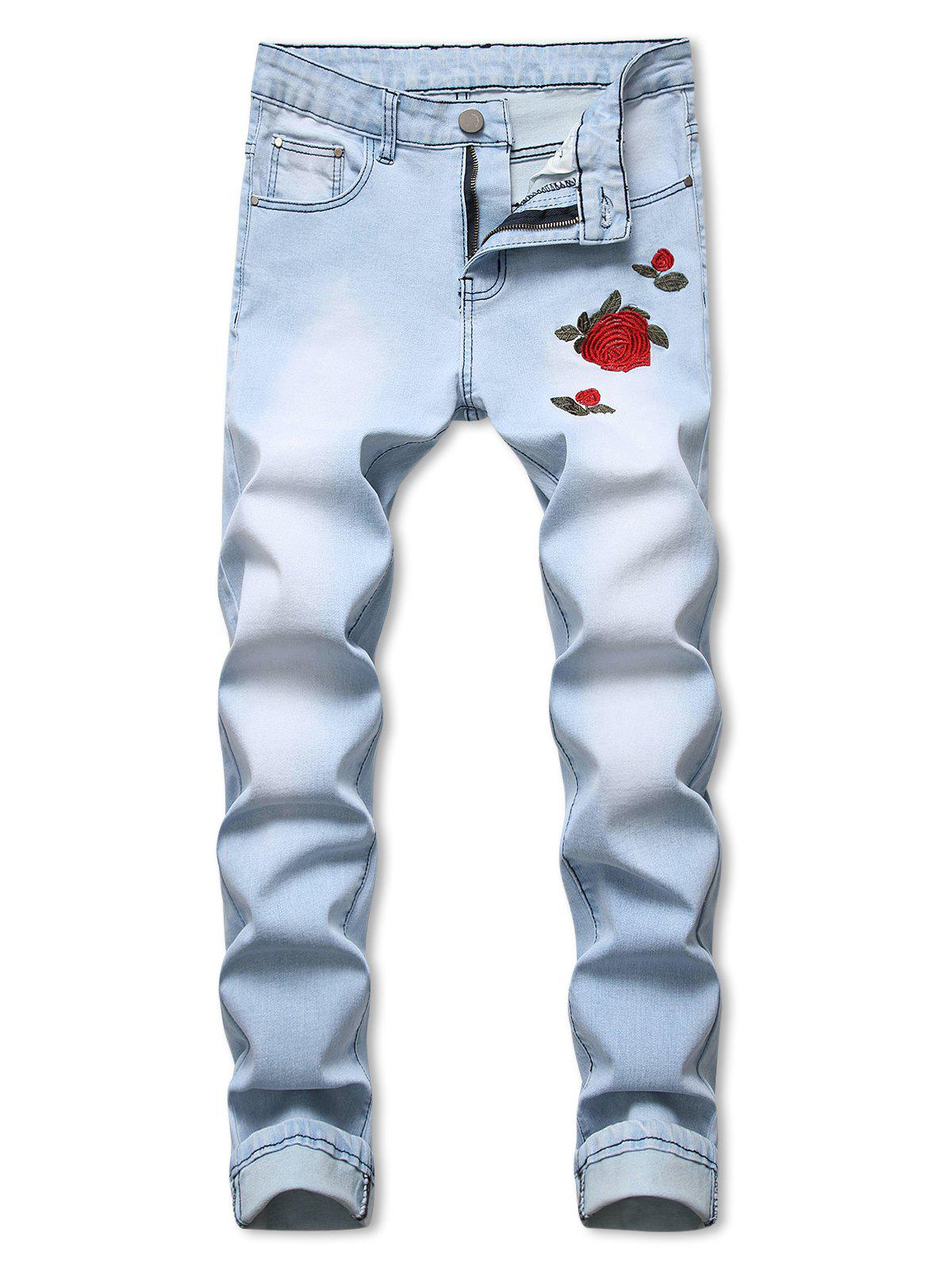 Sale Rose Flower Embroidery Long Jeans