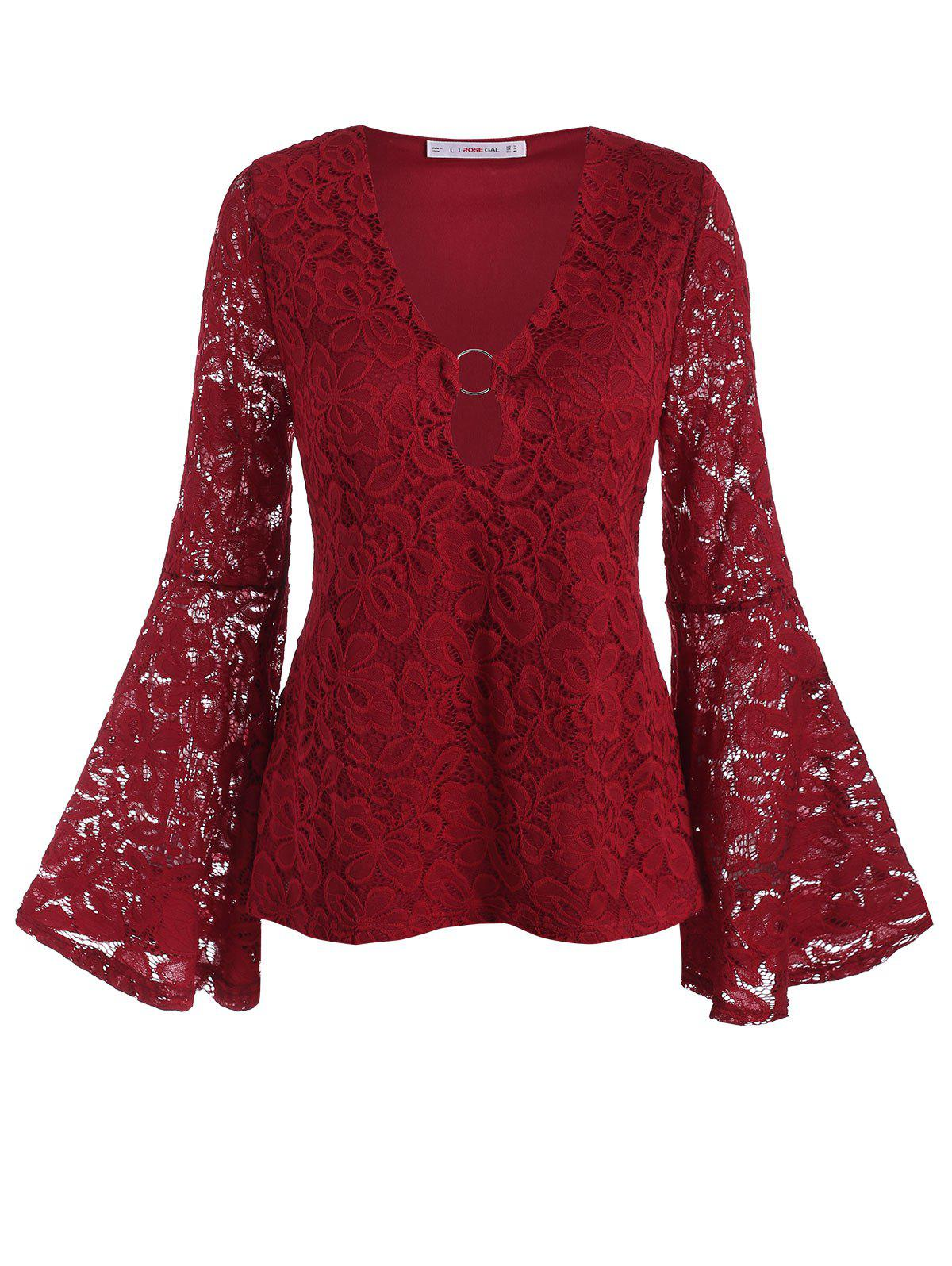 Trendy Plus Size Bell Sleeve O Ring Lace Blouse