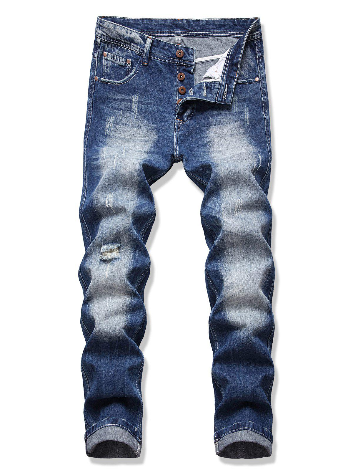 New Distressed Destroy Wash Scratch Jeans