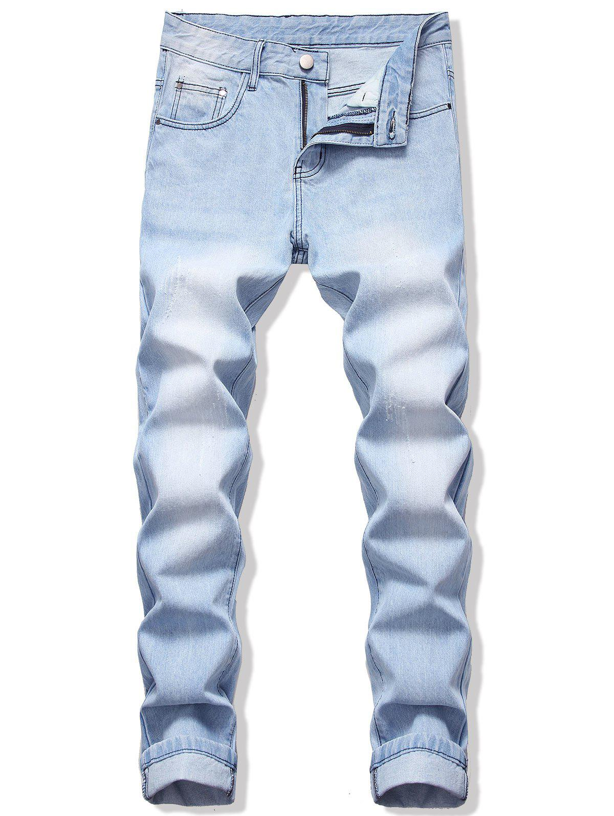 Shop Long Straight Scratch Casual Jeans