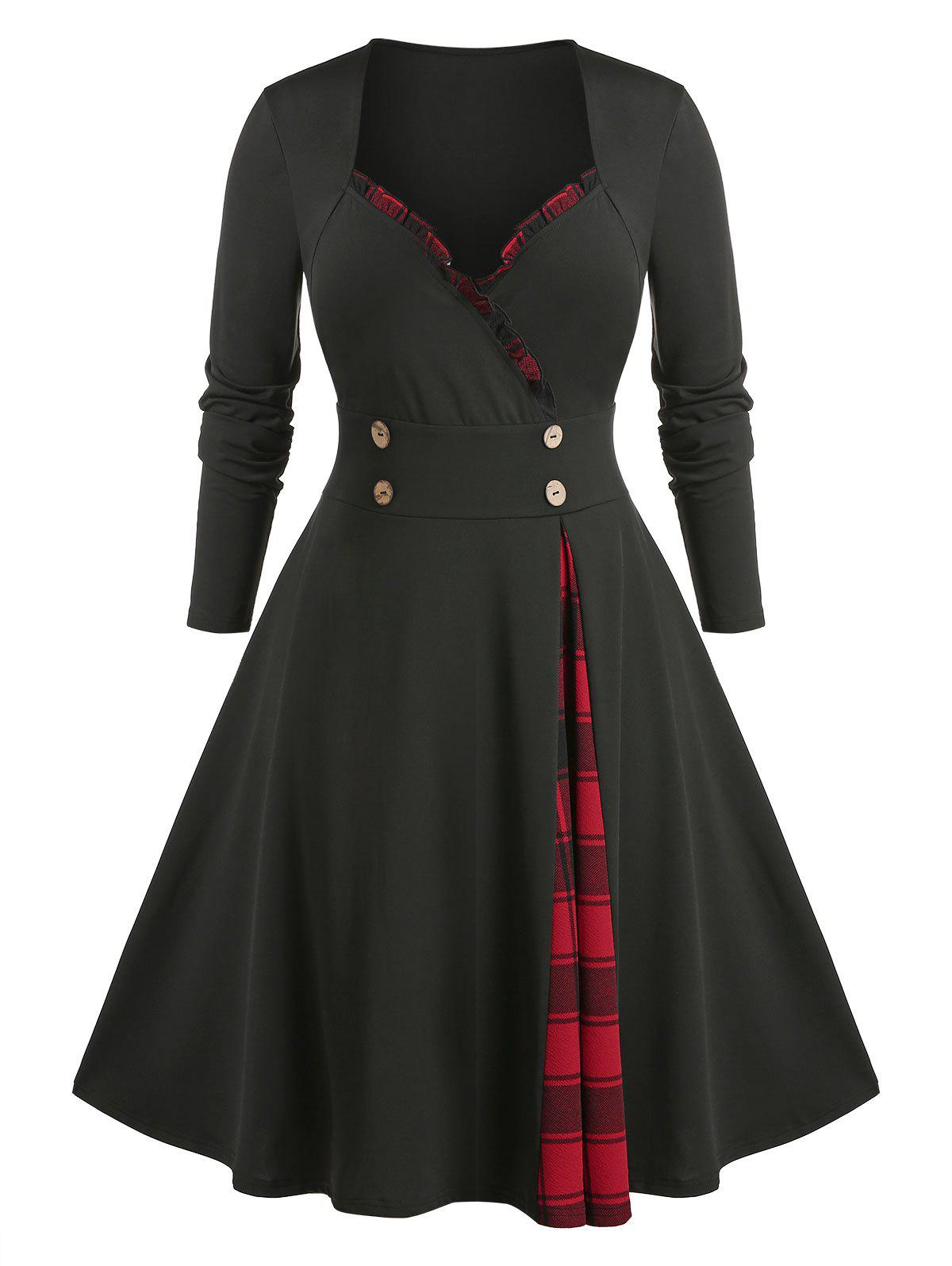 Online Plus Size Frilled Plaid Panel A Line Sweetheart Neck Dress