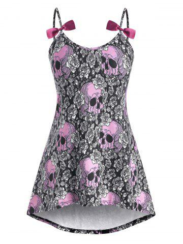 High Low Bowknot Skull Rose Halloween Plus Size Cami Top - LIGHT PINK - L