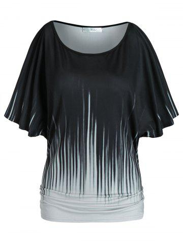 Plus Size Ruched Batwing Sleeve T Shirt - BLACK - 4X
