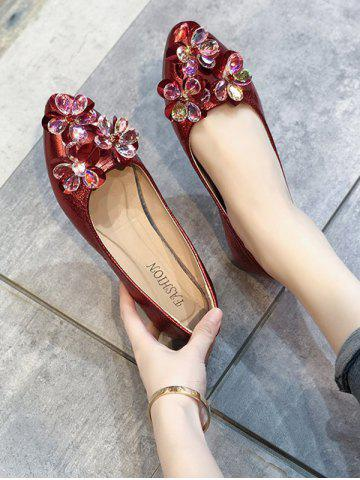 Pointed Toe Floral Flat Shoes - LAVA RED - EU 38