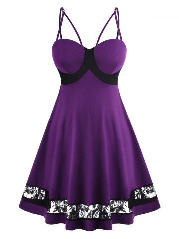 Strappy Lace Panel Bustier Plus Size Dress - PURPLE - L