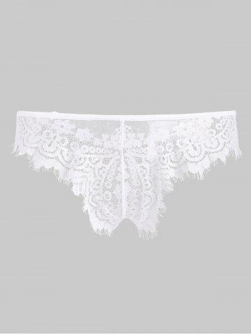 Eyelash Lace Scalloped Thong Panty