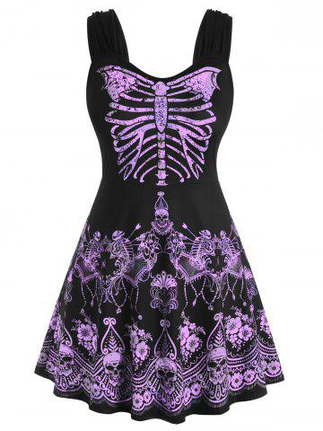 Skull Floral Butterfly Skeleton Halloween Plus Size Tank Top