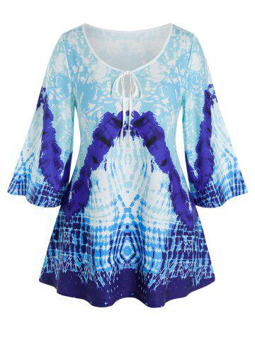 Plus Size Keyhole Tie Abstract Print Wide Sleeve Tee - DODGER BLUE - 3X