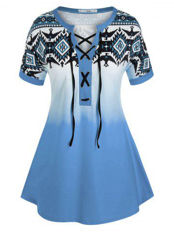 Plus Size Geometric Print Lace-up Ombre Cuffed Sleeve Tee