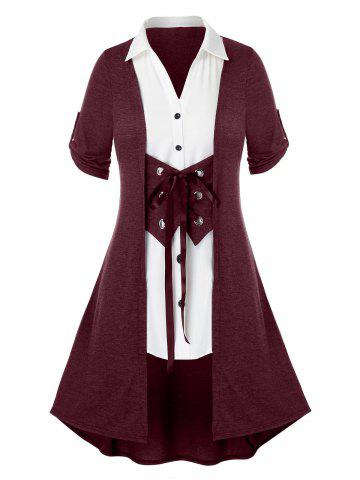 Button Lace Up Plus Size Splicing Blouse - RED WINE - L