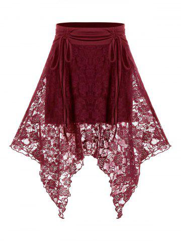 Plus Size Lace Handkerchief Cinched Tie High Rise Skirt