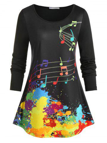 Plus Size Musical Notes Paint Splatter T Shirt