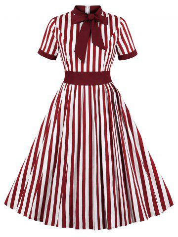 Tie Knot Striped Print Vintage Flare Dress