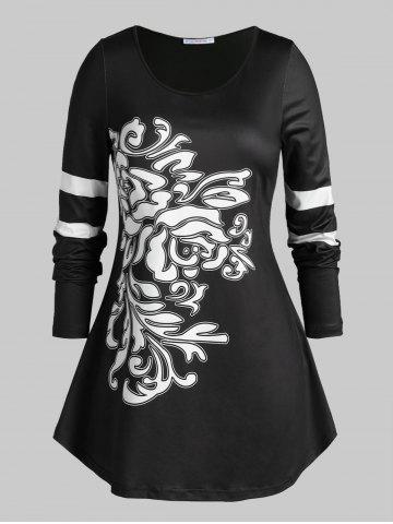 Plus Size Abstract Print Striped Sleeve Tunic Tee