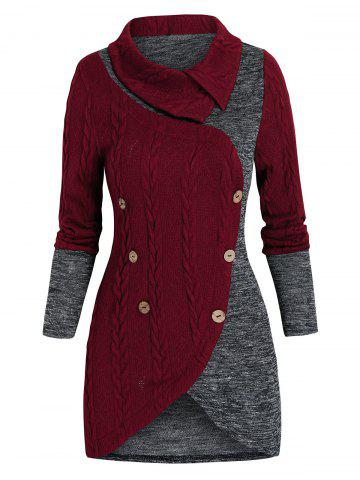 Cable Knit Mock Button Contrast Sweater - RED WINE - 3XL