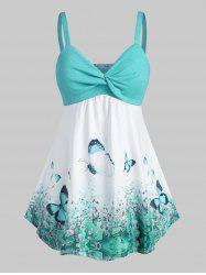 Plus Size Butterfly Print Front Twist Tank Top -