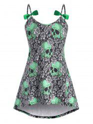 High Low Bowknot Skull Rose Halloween Plus Size Cami Top -
